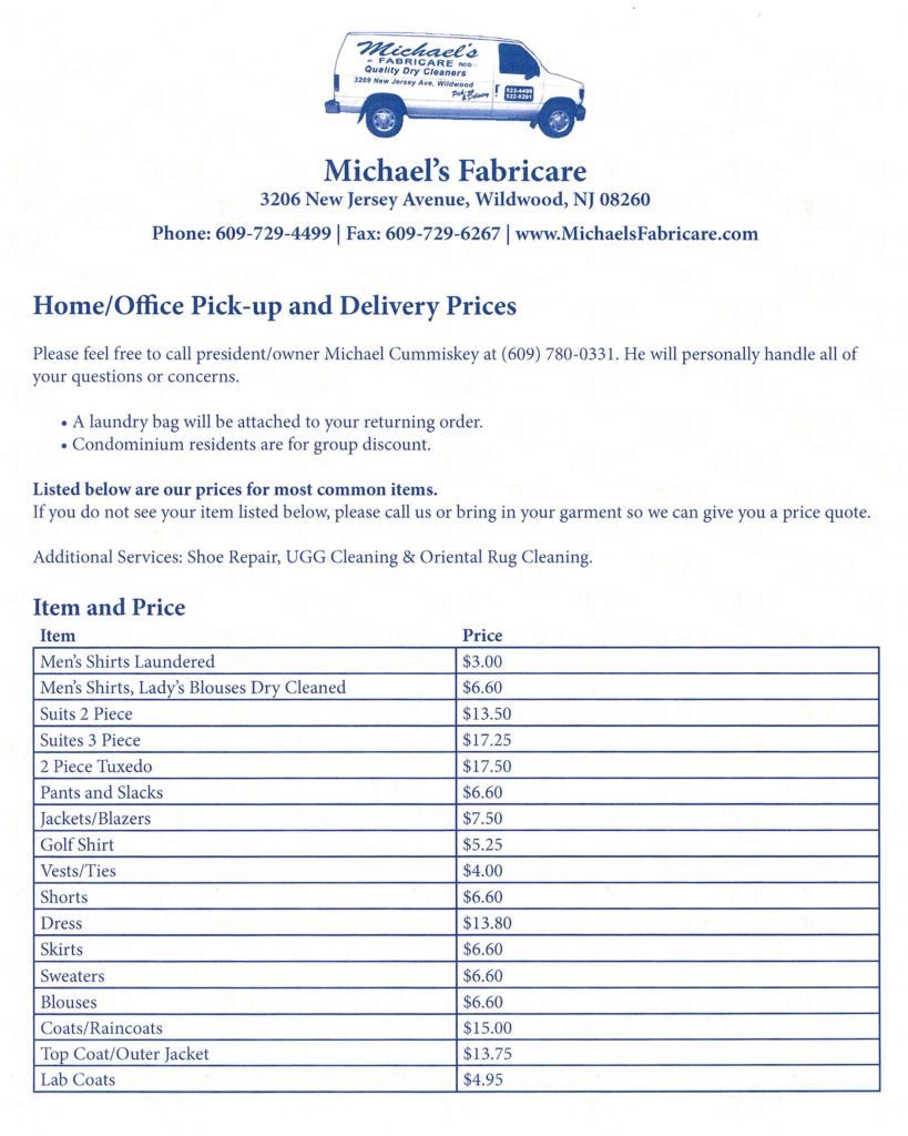 Pricing - Michaels Fabricare